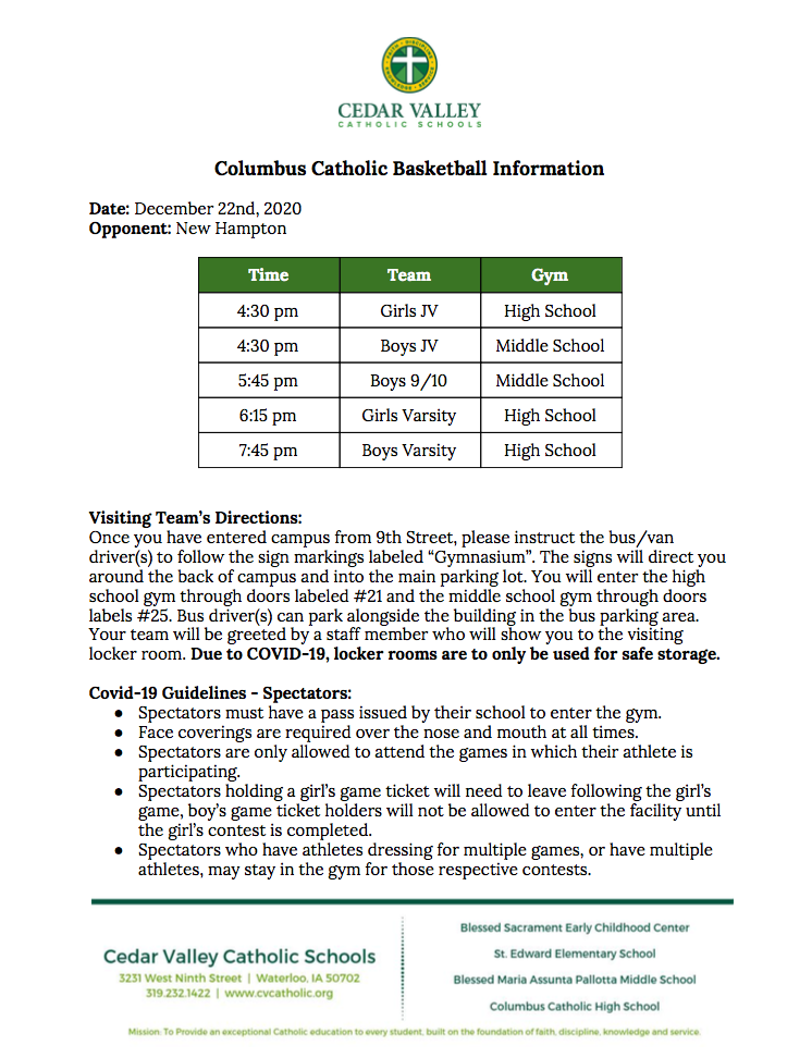 Columbus Catholic Basketball Information