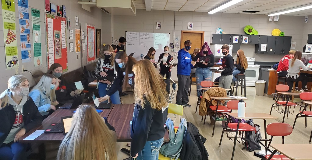 Spanish III class is taking part of a class for a fun day to review numbers with a game of Quizlet Live. The competitive spirit is alive and well!! #WardSpanish #NHTribe