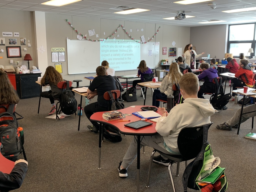 Learning the definition for Non-statistical and statistical questions, (What is your principal's name? How many pets do you have?) Mrs. Olson challenges her  6th grade mathematicians as they begin a new unit.