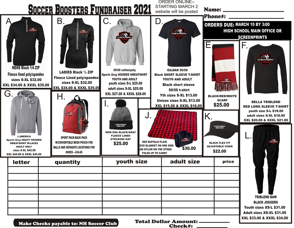 Soccer Apparel Order Form 2021