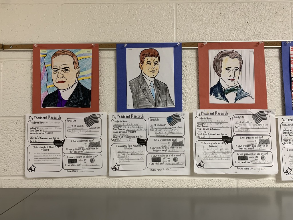 Learning from history, elementary students use research skills to learn about former US presidents.