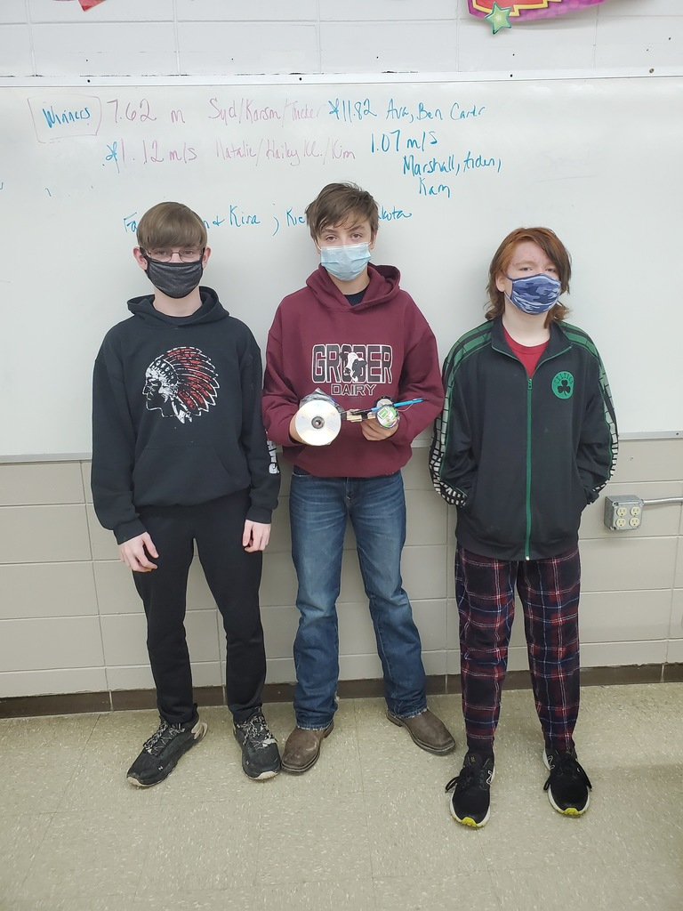 """Class Favorite"" winners for the Physical Science Mousetrap Car Project"