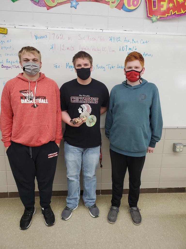 Speed winners for the Physical Science Mousetrap Car Project
