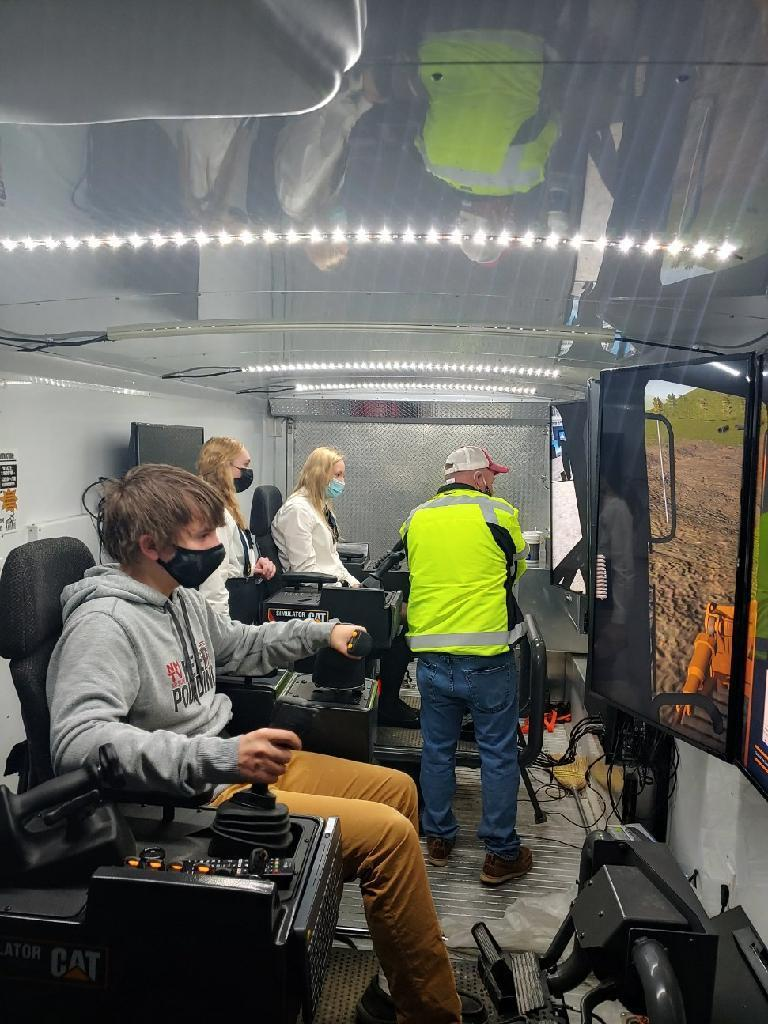 The Construction Equipment Operator Mobile Simulator visited New Hampton High School February 26. Roughly 40 students had the opportunity to learn about construction trades in partnership with JB Holland, Roger Solberg-EOT Consultant/Trainer and NICC. Jordan Anderson with Croell, Inc was also on-site to share information on construction trades from a local perspective. To learn more about construction trades through NICC, click: www.NICC.edu/construction. Be in demand!