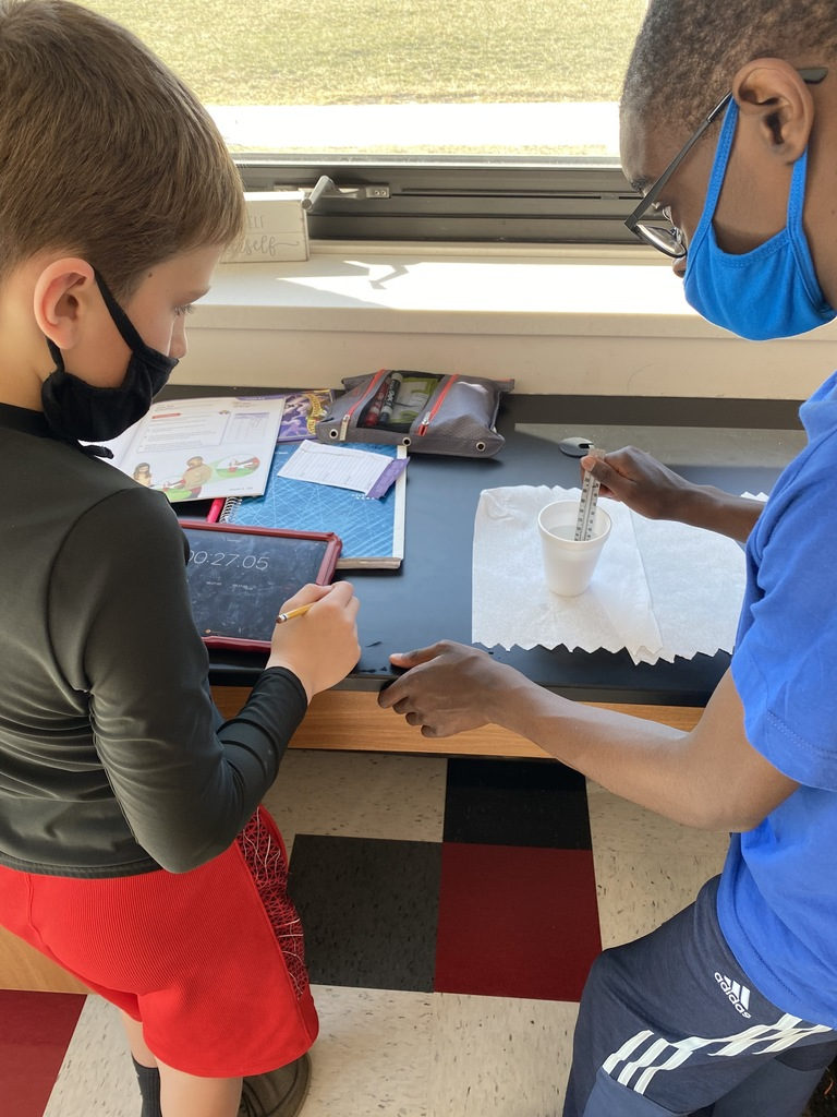 Fifth grade math students using ice water to collect data on temperature change during a 60 second time period. The data they collected was then graphed on a coordinate grid.