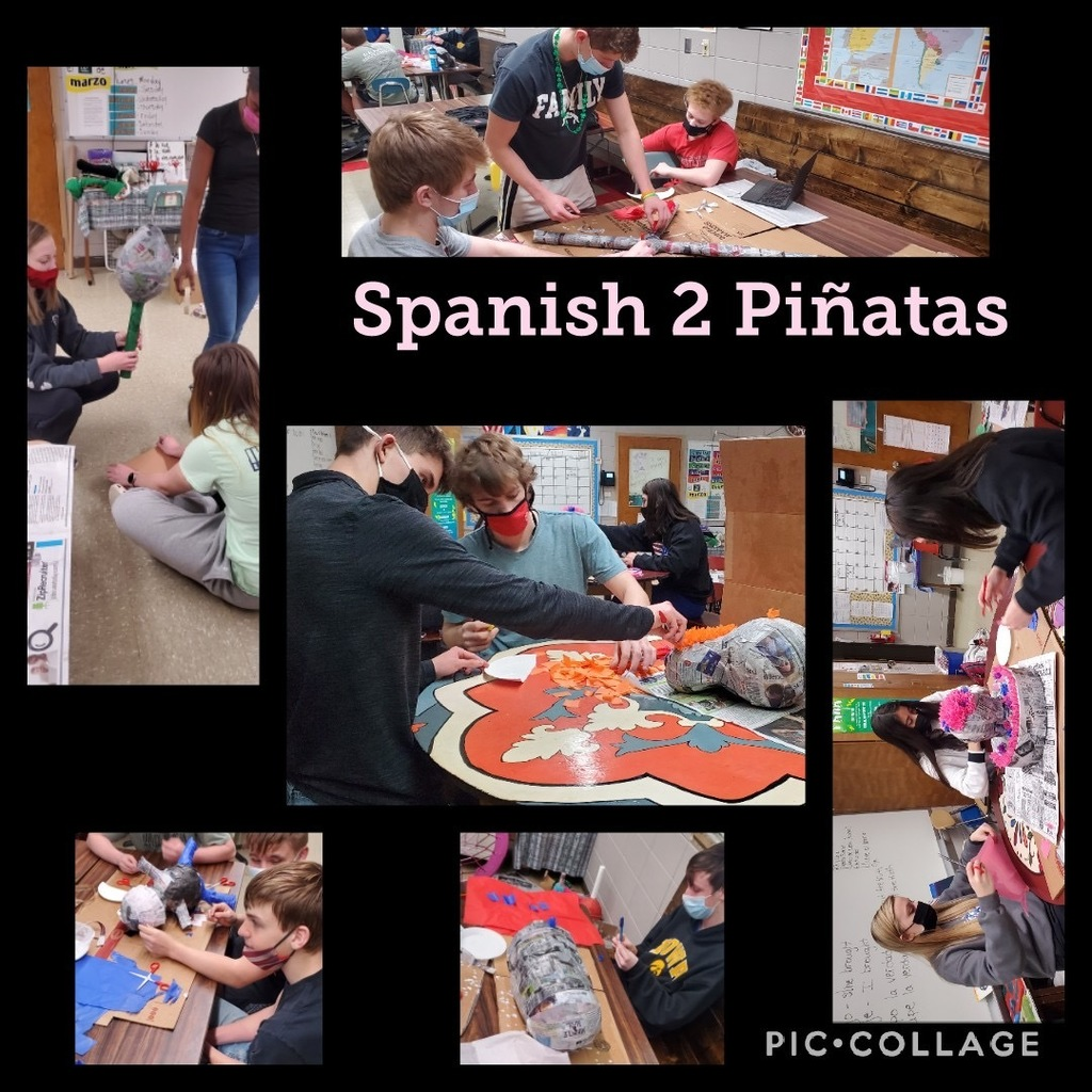 The Spanish 2 students are ending the semester by making piñatas. A tradition for that level.