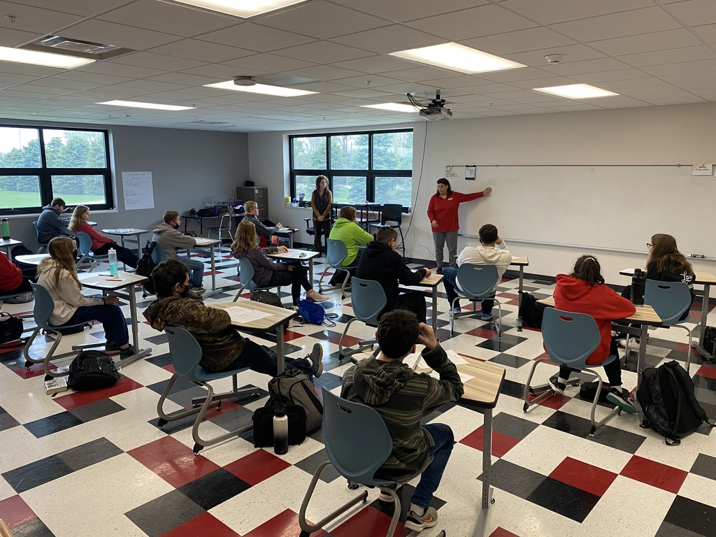 The 8th grade homerooms engaged in conversations with our professional speakers today during Career Week. Thank you Jenny Monteith (Mercy One), Chris Eiler (Eye Care Associates) and Nick Sanford (Dental Associates) Holly O' Brien (NICC), and Tammy Robinson, Megan Baltes (New Horizons Chamber) for working with the 8th graders today.