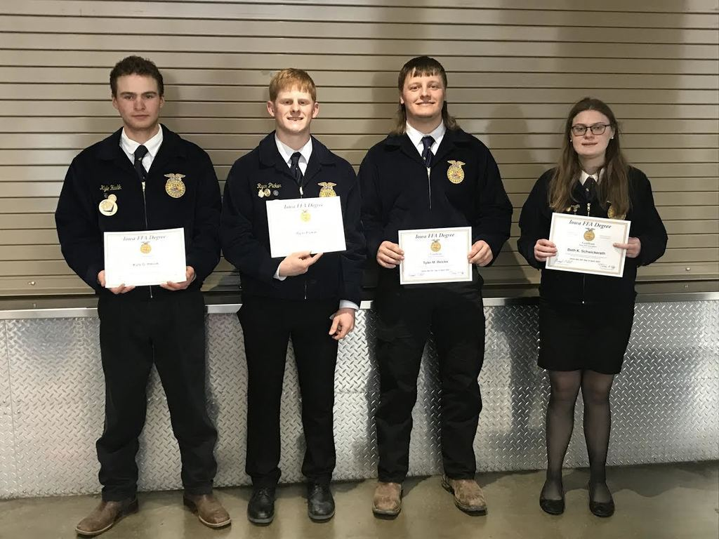 These four FFA members received their Iowa FFA Degrees during the 93rd Iowa FFA State FFA Conference held in Des Moines. There were 621 state degrees awarded in Iowa this year.