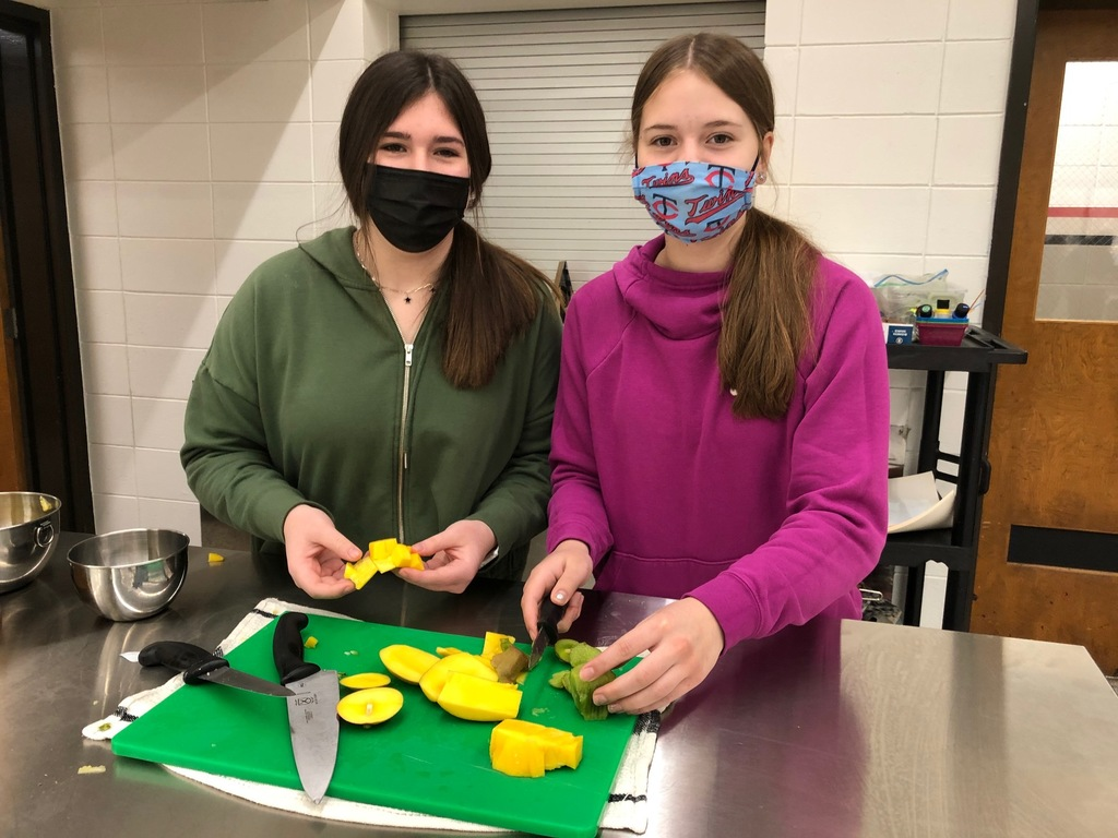 Mrs. Schmitt's Foods II Class learned about different tropical fruits. The students learned how to cut a pineapple, mango, coconut, and kiwi fruit. They learned how to purchase just the right fruit, how to store it, and how to prepare tropical fruit.