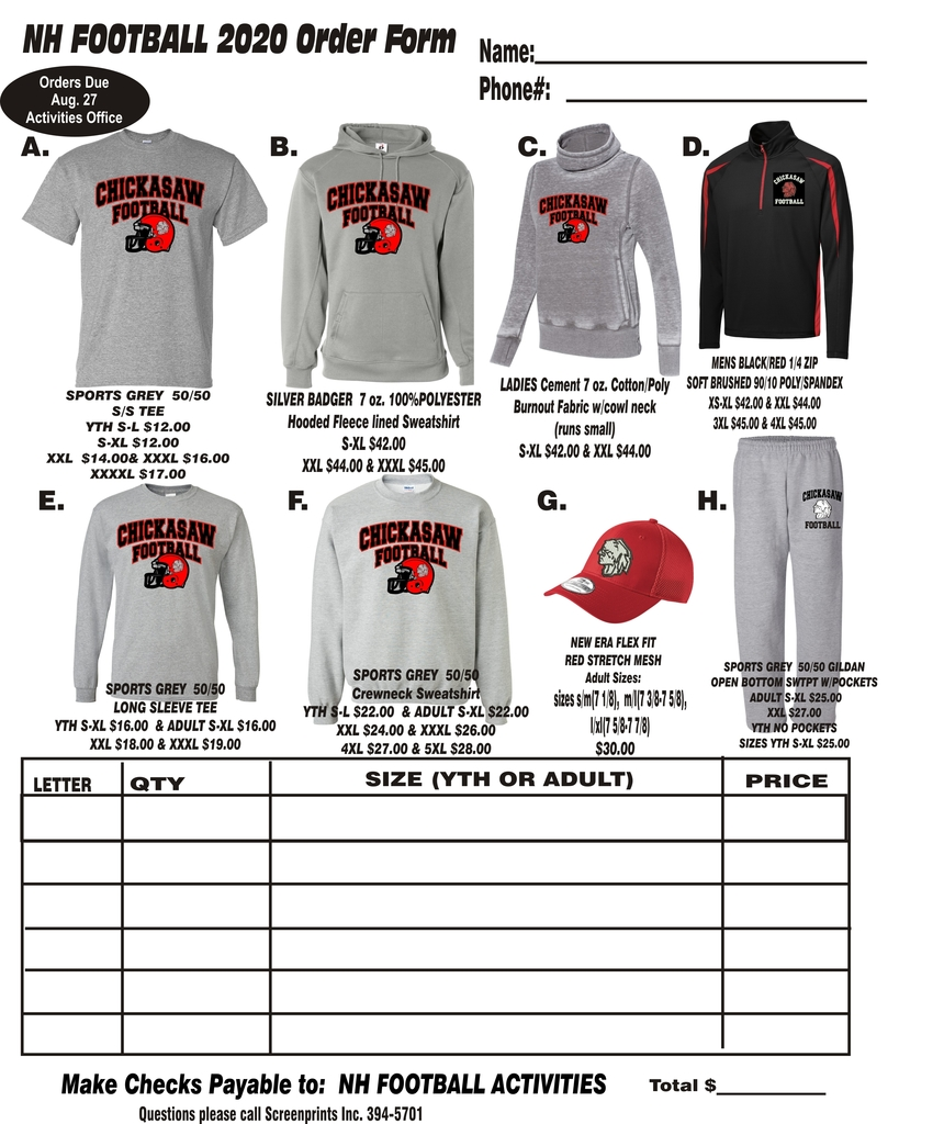 football fan apparel order form